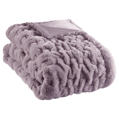 "50""x60"" Ruched Faux Fur Throw Blanket Lavender"