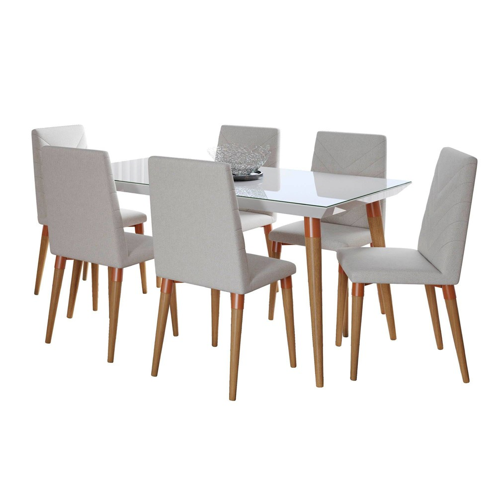 62.99 7pc Utopia Dining Set Gloss White/Beige - Manhattan Comfort