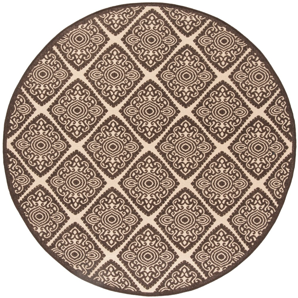 67 Round Medallion Loomed Area Rug Brown - Safavieh Cheap