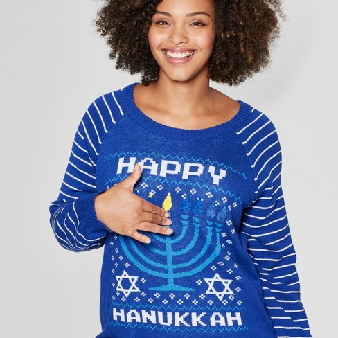 Womens Plus Size Happy Hanukkah Reversible Ugly Sweater Well Worn