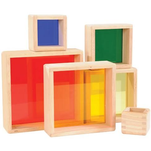 Guidecraft Stacking Transparent Rainbow Pyramid Set - image 1 of 4