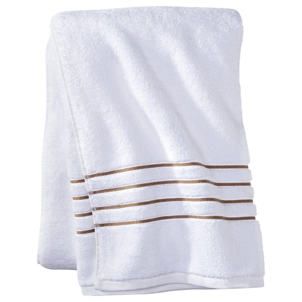 Bath Sheet White Taupe Stripe Fieldcrest 8482