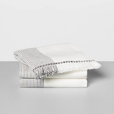 3pc Washcloth Microstripe Gray - Hearth & Hand™ with Magnolia