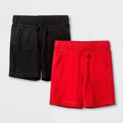 Toddler Boys' 2pk Adaptive Knit Pull-On Shorts - Cat & Jack™ Black/Red