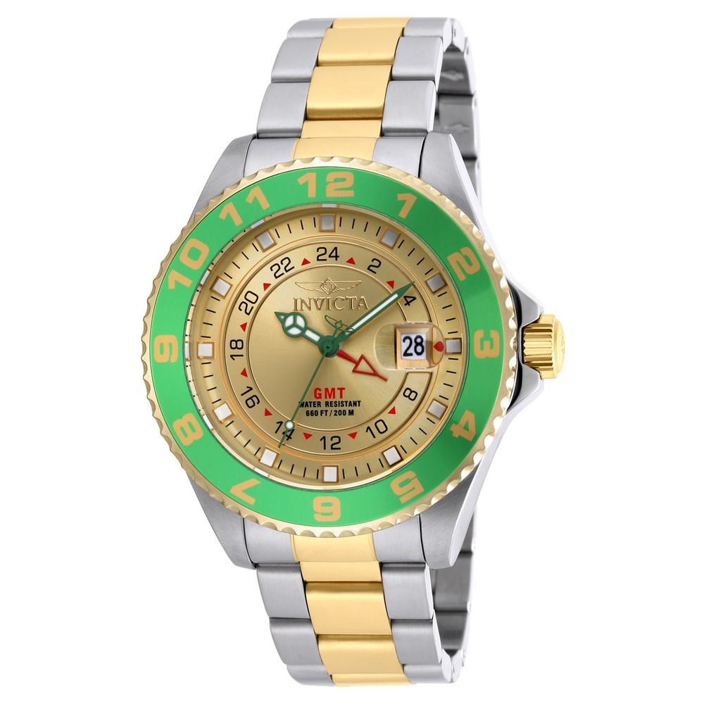 Men's Invicta 18245 Pro Diver Stainless Steel Three Hand Quartz Link Watch - Green