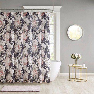 Sorrel Floral Print Cotton Shower Curtain Dark Blue