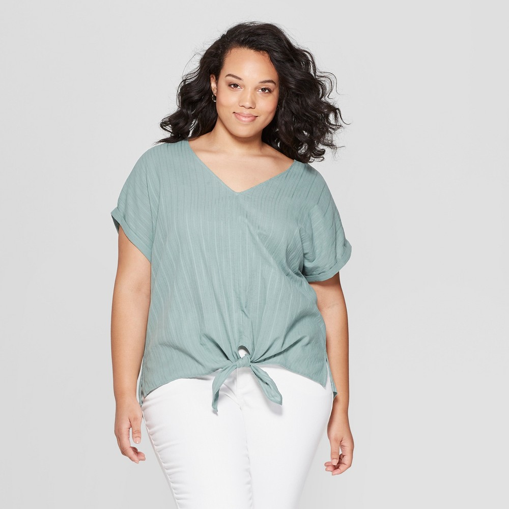 Women's Plus Size Short Sleeve V-Neck Knit to Woven Tie Front - Universal Thread Green 1X
