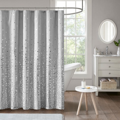 Nova Printed Shower Curtain Grey Silver