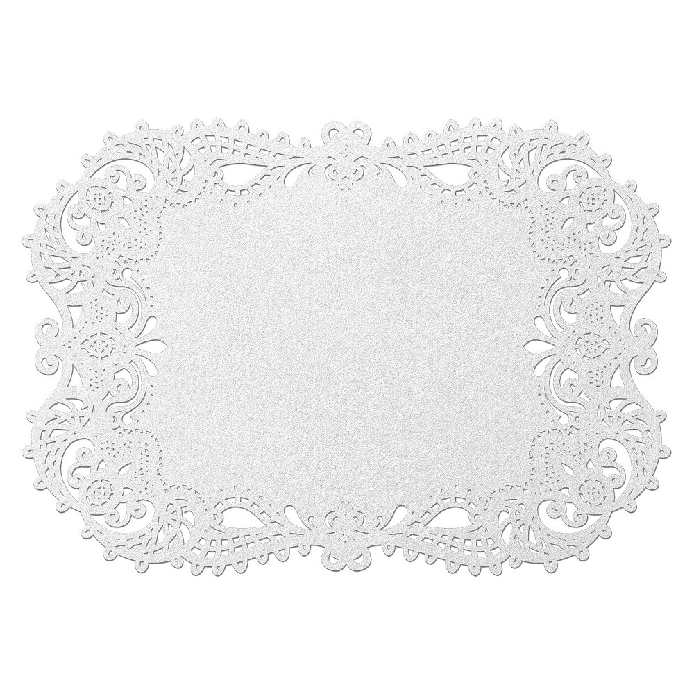 Image of 12ct White Shimmer Placemats set