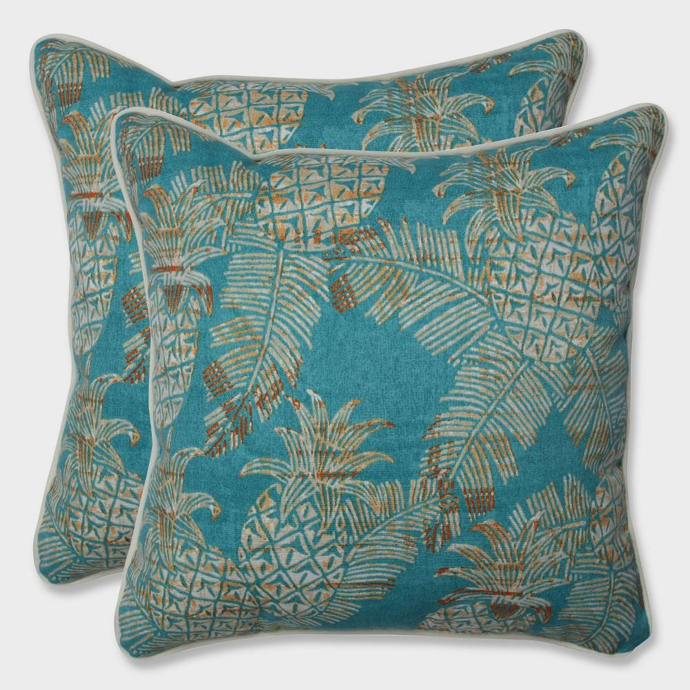 16.5 2pk Carate Batik Lagoon Throw Pillows Blue - Pillow Perfect