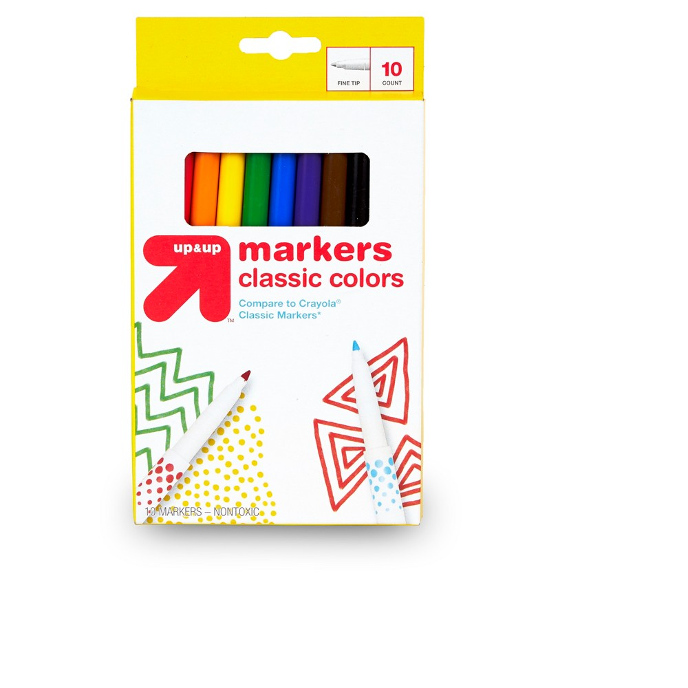 10ct Markers Fine Tip Classic Colors - Up&Up was $1.99 now $0.65 (67.0% off)