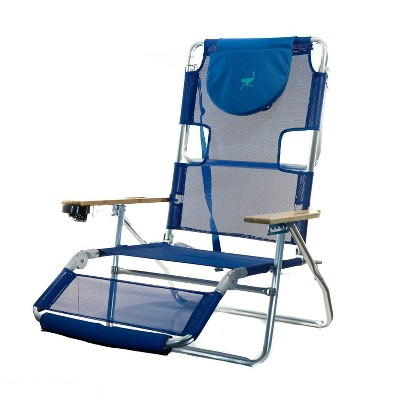 Ostrich 3 N 1 Lightweight Aluminum Frame 5 Position Reclining Beach Chair, Blue