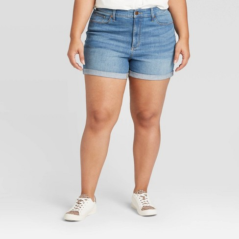 Women's Plus Size High-Rise Jean Shorts - Universal Thread™ Medium Wash - image 1 of 3