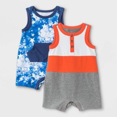 Baby Boys' 2pk Star Tie-Dye Romper - Cat & Jack™ Gray