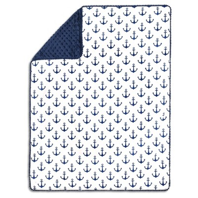 The Peanutshell Pompom Baby Blanket - Anchor - Navy