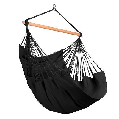 La Siesta HAL18-X9 Habana Organic Cotton Comfort Size Indoor Outdoor Hammock Chair with 43 Inch Bamboo Spreader Bar, Onyx