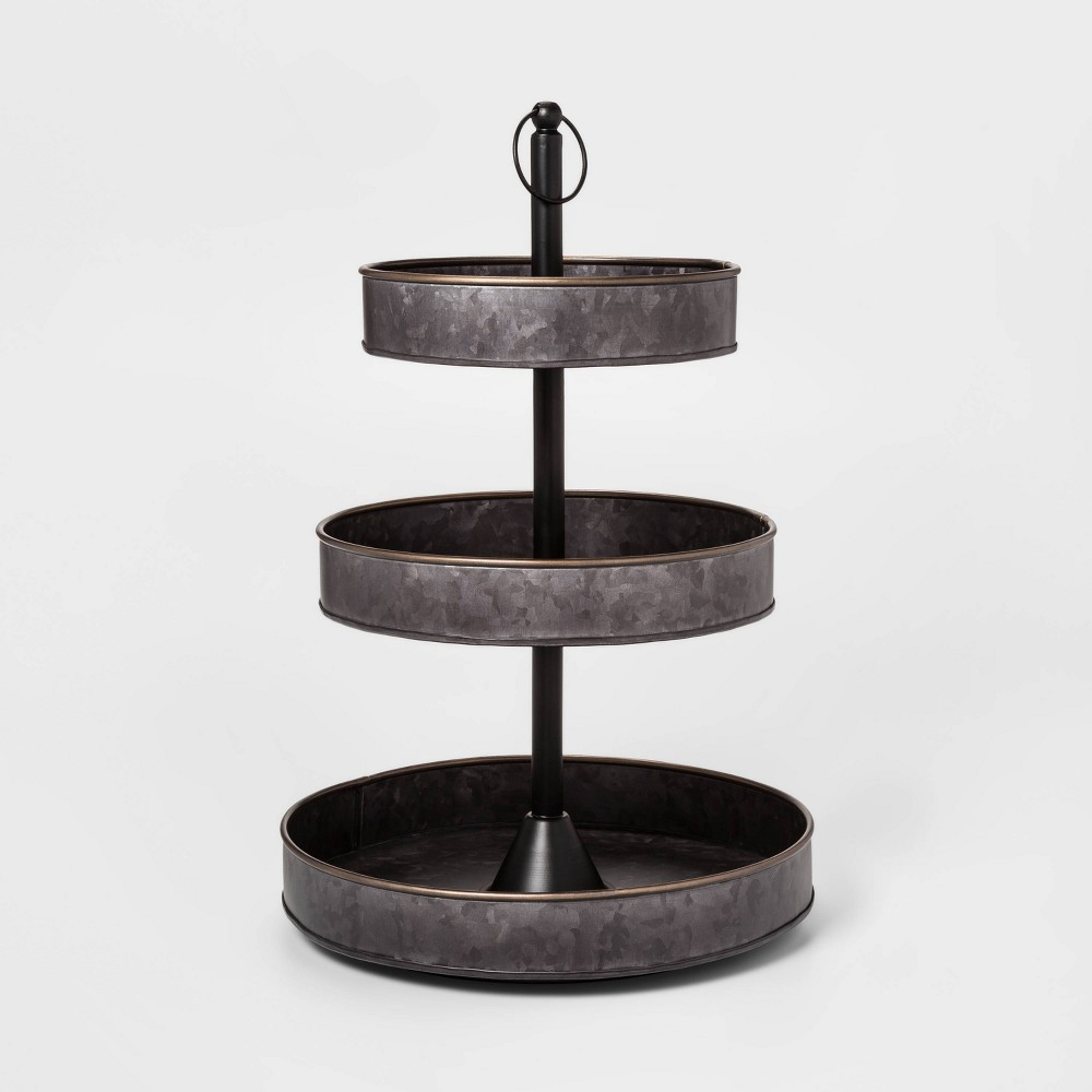 Image of 3 Tier Serving Tray with Brass Border Black - Threshold