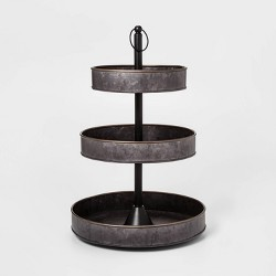 3 Tier Serving Tray with Brass Border Black - Threshold™