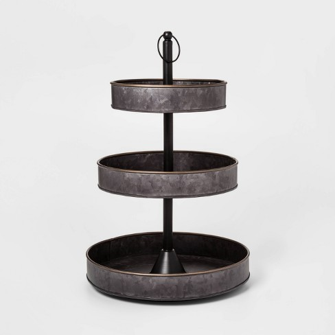 3 Tier Serving Tray with Brass Border Black - Threshold™ - image 1 of 1