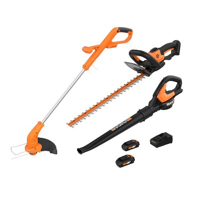 WORX WG910 2-in-1 String Trimmer and Edger, 22-inch Hedge Trimmer, Leaf Blower/Sweeper, and 2 Battery Combo Pack