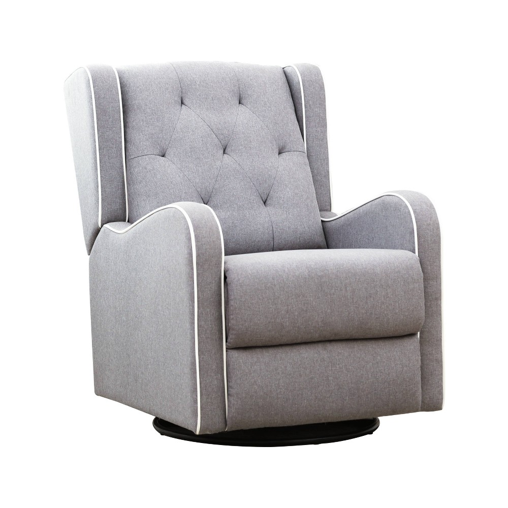 Awe Inspiring Quincy Tufted Fabric Swivel Recliner Gray Abbyson Living Machost Co Dining Chair Design Ideas Machostcouk