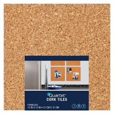 "Quartet 12"" x 12"" 4pk Natural Cork Tiles Frameless, Modular"