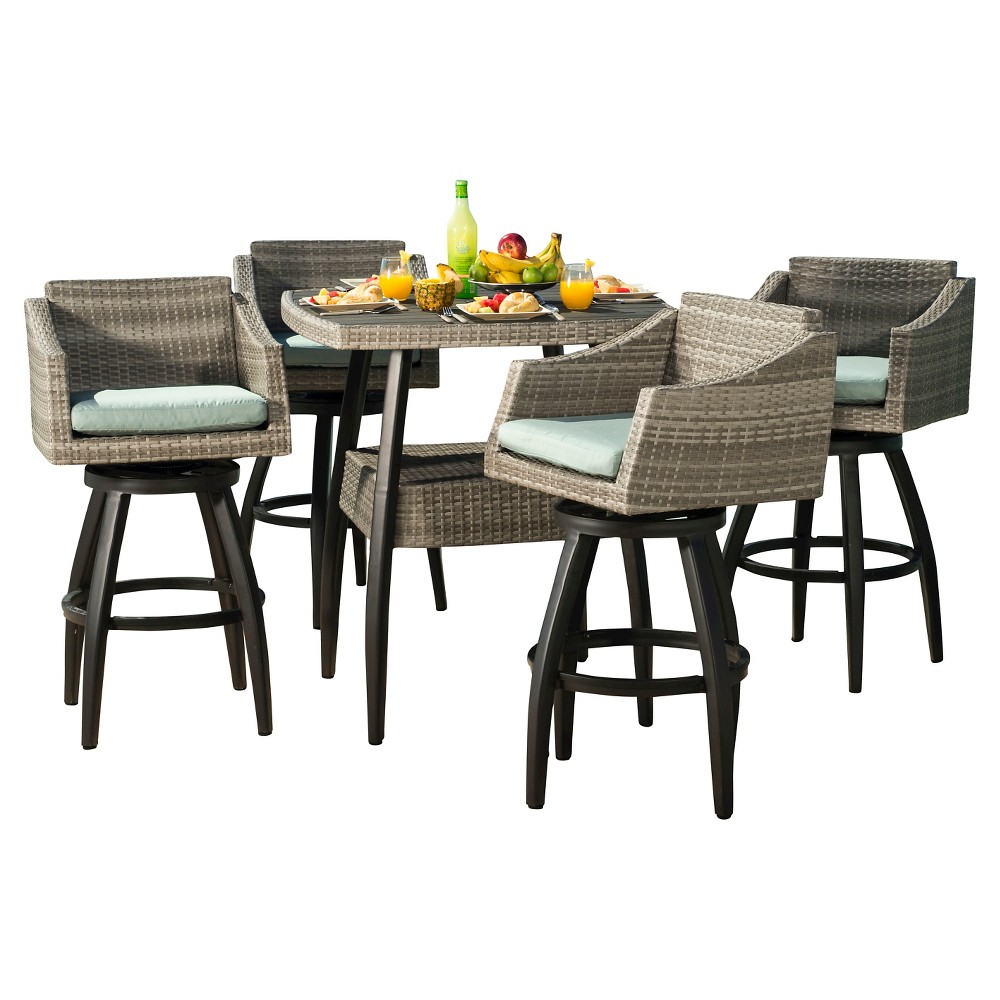 Cannes 5pc Patio Wicker Patio Dining Set - Spa Blue - Rst Brands, Lt Grey