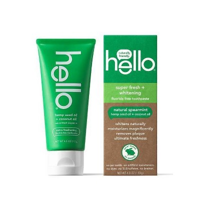 hello Extra Freshening Natural Spearmint Hemp Seed Oil + Coconut Oil Fluoride Free Toothpaste - 4oz