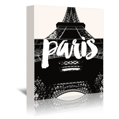 Americanflat Paris Eiffel Tower Black White by Amy Brinkman Wrapped Canvas