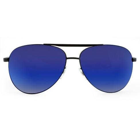 b7ef976f5a41 Men's Aviator Sunglasses With Blue Mirrored Lenses - Matte Black : Target