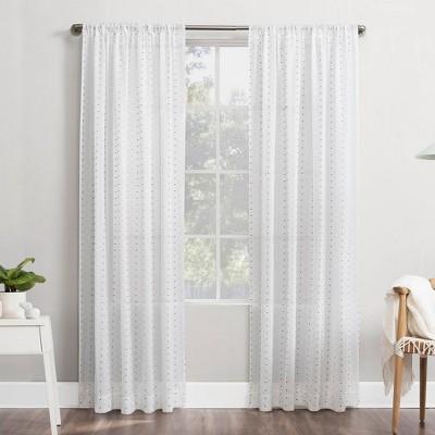Petani Clipped Swiss Dots Semi-Sheer Rod Pocket Curtain Panel - No. 918