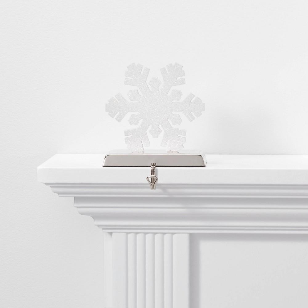 Image of 1ct Glitter Snowflake Christmas Stocking Holder White - Wondershop , White Silver