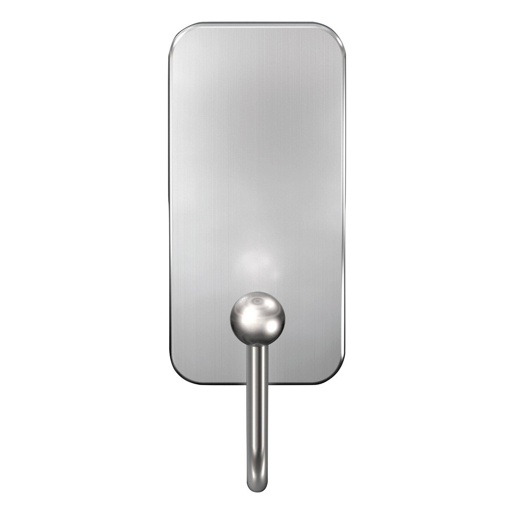 Image of Command Small Bath Wall Hook Metal Brushed Nickel, Silver