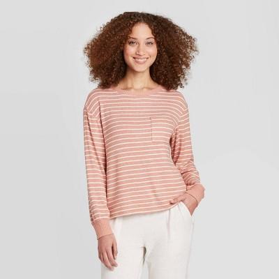 Women's Striped Perfectly Cozy Lounge Sweatshirt - Stars Above™ Rust M