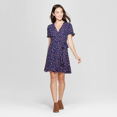 a82d93c0d568 Women s Floral Print Short Sleeve Wrap Dress -...   Target