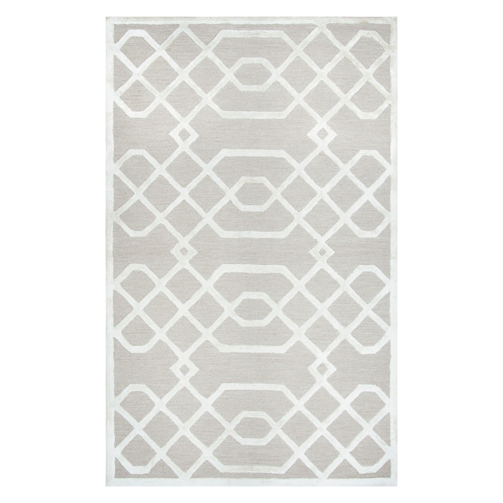 Image of Beige Trellis Tufted Area Rug 9'X12' - Rizzy Home