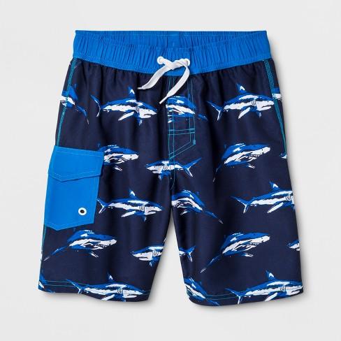 212ef7321aa6e Boys' Shark Print Swim Trunks - Cat & Jack™ Dark Blue : Target