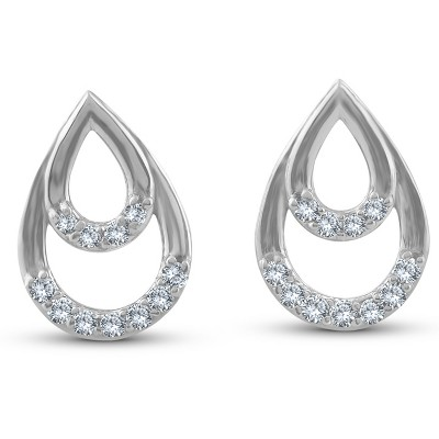 Pompeii3 1/10ct Diamond Pear Shape Dangle Petite Earrings 14k White Gold