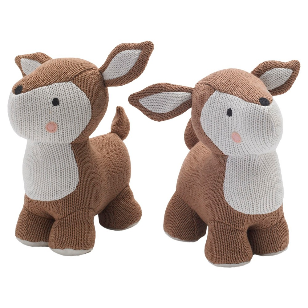Image of Lolli Living Knit Deer Bookend Friends - Brown/White