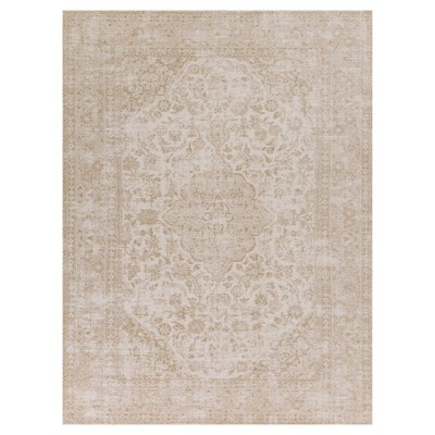 Champagne Medallion Pressed/Molded Area Rug 3'3 x5'3  - KAS Rugs