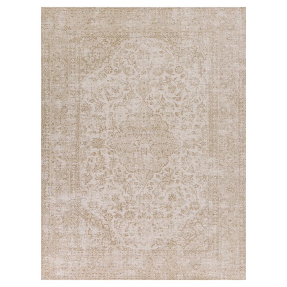 Champagne Medallion Pressed/Molded Accent Rug 26