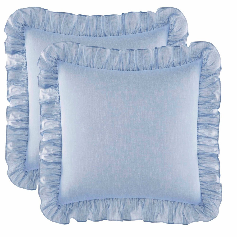 "Image of ""Laura Ashley 26""""x26"""" 2pk Pillow Sham Blue"""
