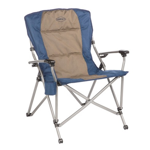 Kamp-Rite KAMPCC153 Soft Padded Hard Arm Outdoor Camping Folding Chair with Cupholder, Blue & Tan - image 1 of 2