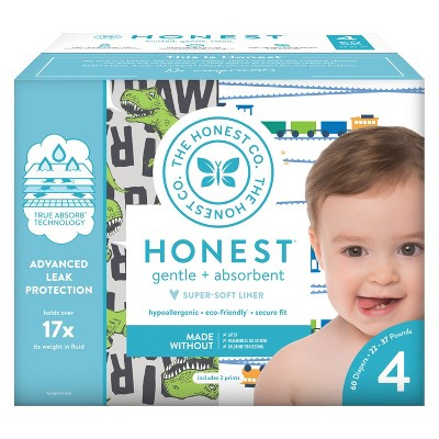 Honest Company Diapers Club Pack T-Rex & Trains - Size 4 (60ct)