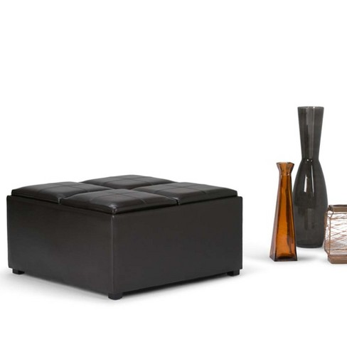 Avalon Coffee Table Storage Ottoman With 4 Serving Trays Simpli Home Target