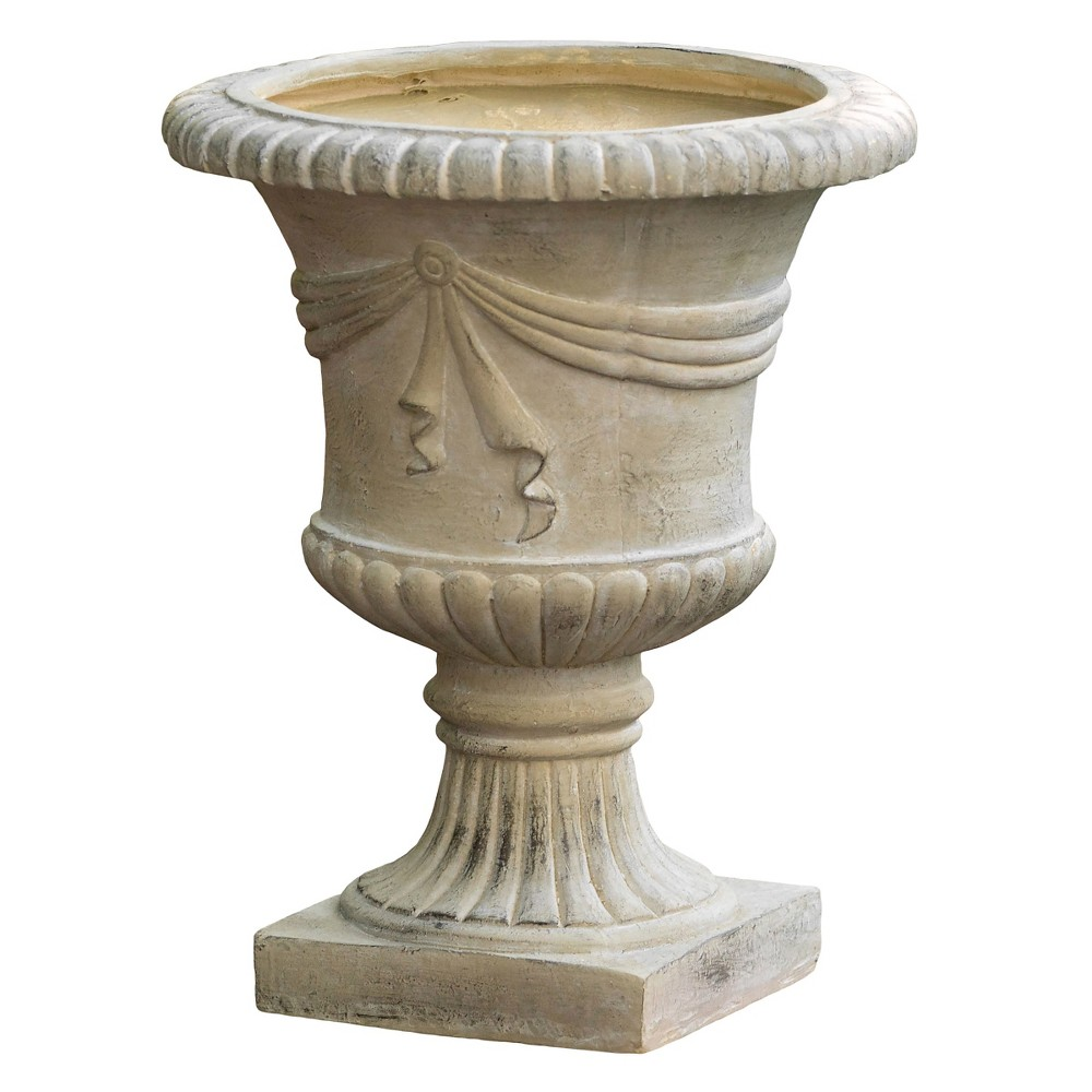 Image of 20 Zeus Cast Stone Patio Urn - Green- Christopher Knight Home, Green