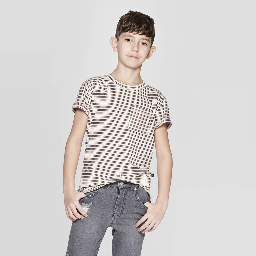 Boys' Short Sleeve Stripe T-Shirt with Pocket - art class Beige Xxl