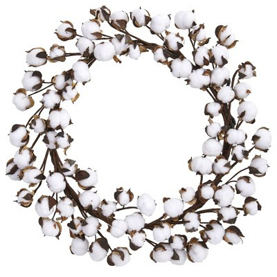 "20"" Decorative Cotton Ball Wreath White/Brown - Nearly Natural"