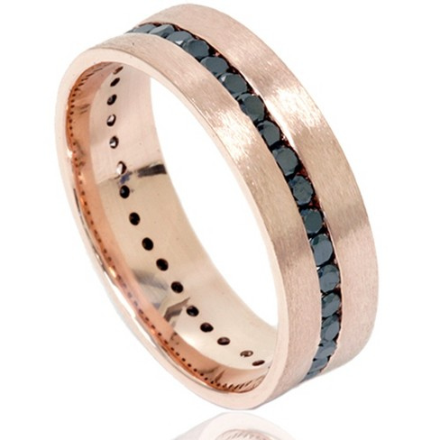 Pompeii3 1 1/10ct Channel Set Black Diamond Brushed Ring 14K Rose Gold Mens Wedding Band - image 1 of 4