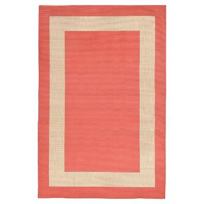 Terrace Indoor/Outdoor Border Coral Rug 4'10 X7'6  Orange - Liora Manne